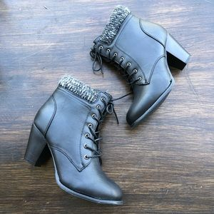 Black Lace Up Combat Bootie Chunky Heel Knit Ankle